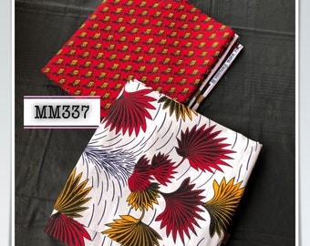 MM337 3 yd each red burgundy yellow Mix Match african fabric pair Red/ Yellow / ankara/ african Wax Print/ ethnic print/ African Material/ D