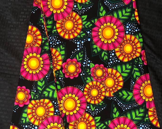 MC96 per yard yellow/ pink Blue green pink floral african Fabric/ kente Wax print/ kente cloth/ Material/head wrap/ethnic tribal print
