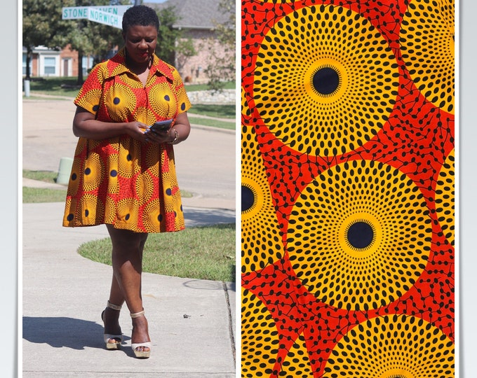 RY69 6 yards yellow reddish orange bullseye circle African Fabric/ African Wax print: Ankara for Sewing Dresses/African art/tribal print