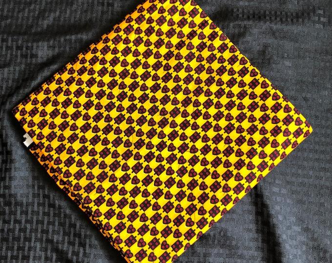 YR1 african fabric per yard red/ Yellow Heart dice Design /African Wax print/ Ankara for Sew Dress/ African Art/ cloth dolls