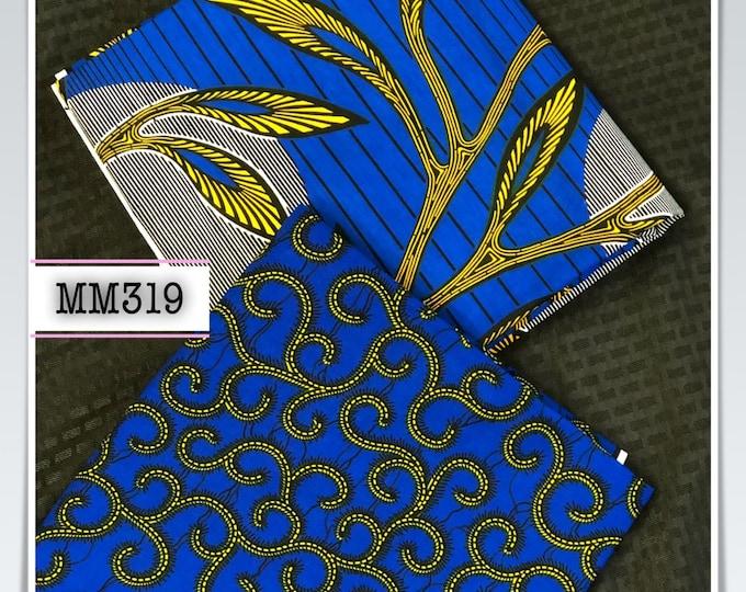 MM319 3 yds each royal blue yellow mix aNd Match African Wax/ African Fabric/ankara/ Material/ decor pillows/ african cloth dolls