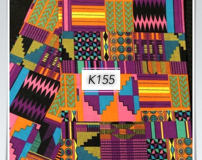 K155 Per yard pink/purple yellow green kente african Fabric/ kente Wax print/ kente cloth/ Material/head wrap