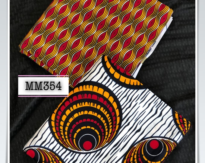 MM354 3 yards each design Mix Match african fabric pair Red/ Yellow / ankara/ african Wax Print/ ethnic print/ African Material/ Doll Cloth