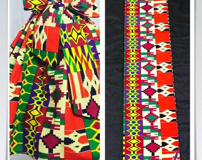 K115 Per yard yellow/ red/ Blue green kente african Fabric/ kente Wax print/ kente cloth/ Material/head wrap