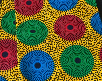 RYG13 African fabric by yard yellow red green bullseye Kitenge african print/ African clothing/ African home decor/ ethnic print/ material