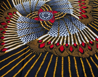 RWB62 6 yards African fabric gladiator Yellow red white black African Wax print: Ankara for Sewing Dresses/ shirts/ African art/ Doll/decor