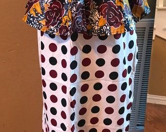 Large Black white burgundy polka dot peplum midi fabric skirt / ethnic skirt / dashiki skirt / women wear/Ankara/African wax print skirt