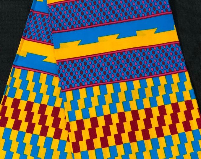 K133 kente per yard  yellow/ red/ Blue kente Wax print/ kente cloth/ Material/afican tribal ethnic print