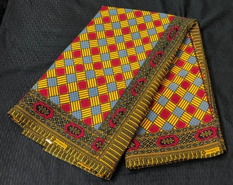 6 yards yellow red blue checkerboard square kitenge African fabric/ african print/ African clothing/ African home decor/ ethnic print/ Afric