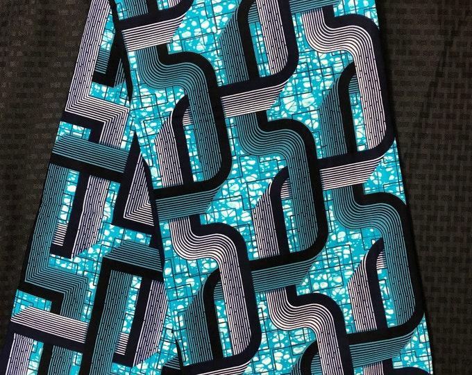 BWB61 6 yard Blue white  black geometric print kitenge African Fabric/African Wax print/ Ankara/ Sew Dress/ african table napkins/