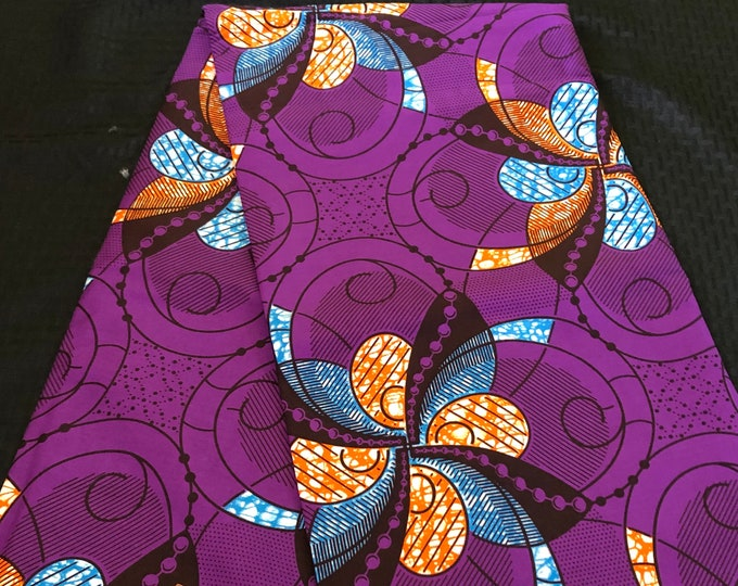 PUO1 african fabric per yard orange/ purple/ Blue Leaf floral kente Wax print/ kente cloth/ Material/head wrap
