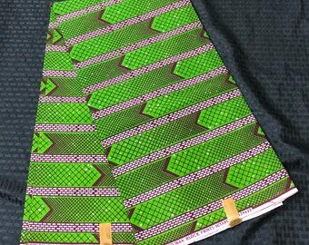 6 yards White / Brown/ green arrow Design African Fabric/ Ankara/ African Wax print/ Material/ cloth/ ntoma