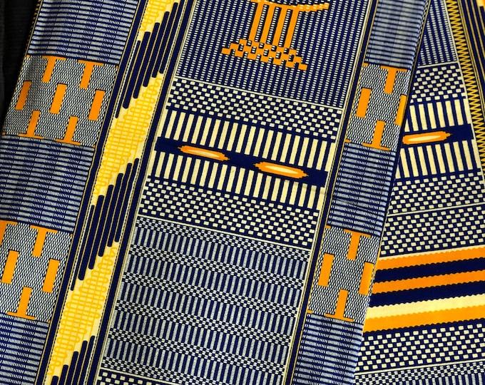 per yard yellow/ orange/ navy Blue kente african Fabric/ kente Wax print/ kente cloth/ Material/head wrap/ethnic tribal print