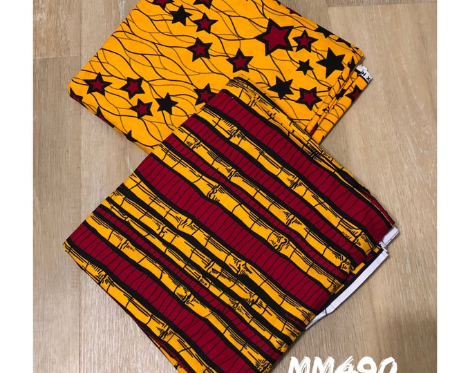 MM490 table Mix Match african fabric pair Red/ orange Yellow African Fabric/ ankara/ african Wax Print/ ethnic print/ African Material