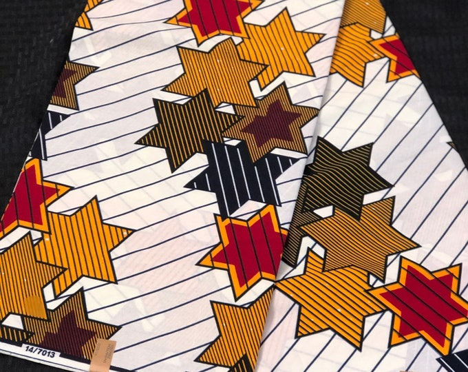 6 yards White/  red/ brown star African Fabric/African Wax print/ Ankara for Sew Dress/ African Art/ cloth dolls