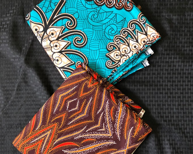 MM451 Blue brown mix ethnic print Mix and Match African Ankara Fabric Print 3 yards each