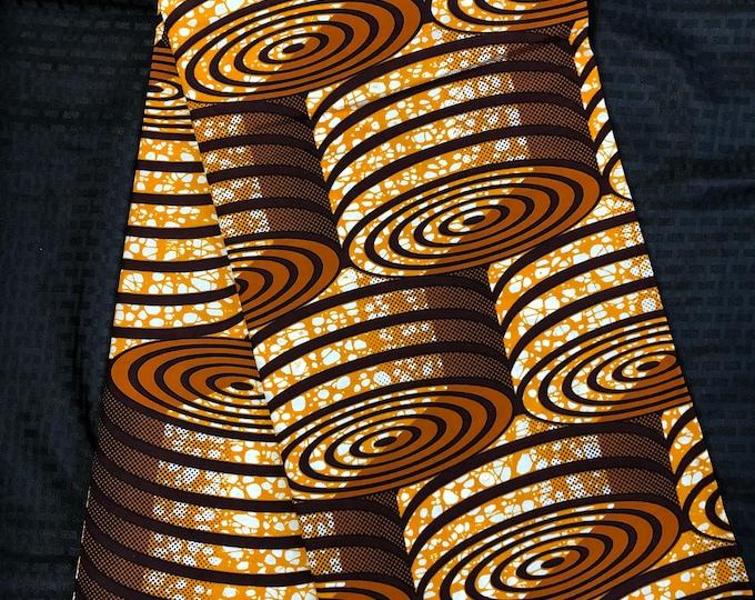 BRN11 african fabric per yard  brown beige wood block Wax print/ kente cloth/ Material/head wrap