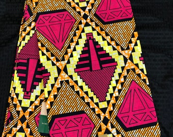 6 yards pink yellow Orange diamond Kitenge African Fabric/ African Wax print/ Ankara for Sewing Dress/ African hats/ art crafts/dolls