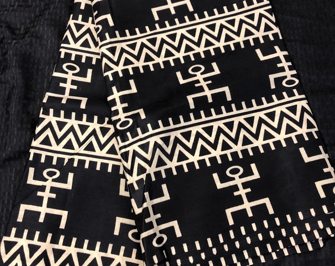 Per yard kuba print mud cloth fabric Black off-white/beige  African  Fabric/ African Wax Print/ ankara/ ethnic cloth/ traditional cloth/ hom