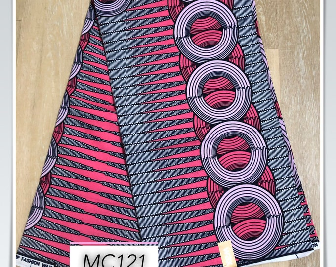 MC121 1 yard fuschia Pink grey pencil circle Design African Fabric/African Wax print/ Ankara/ Sew Dress/ african table napkins/