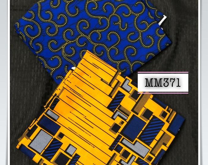 MM371 3yds each royal blue yellow church tower mix aNd Match African Wax/ African Fabric/ankara/ Material/ decor pillows/ african cloth do