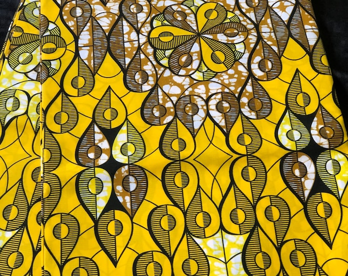 YWB1 african print per yard Yellow white brown African Wax print/ Ankara for Dress/ African cloth dolls/ African decor