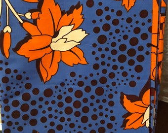 6 yard blue orange, brown, floral design  African Fabric/African Wax print/ Ankara for Dress/ African cloth dolls/ African decor