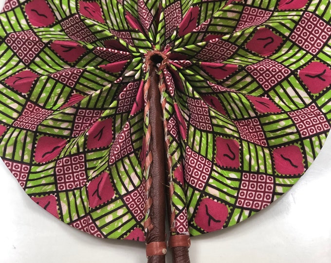 Green pink checkerboard  Ankara african wedding favor ethnic print fabric round windmill style handmade hand fan with leather trim folding