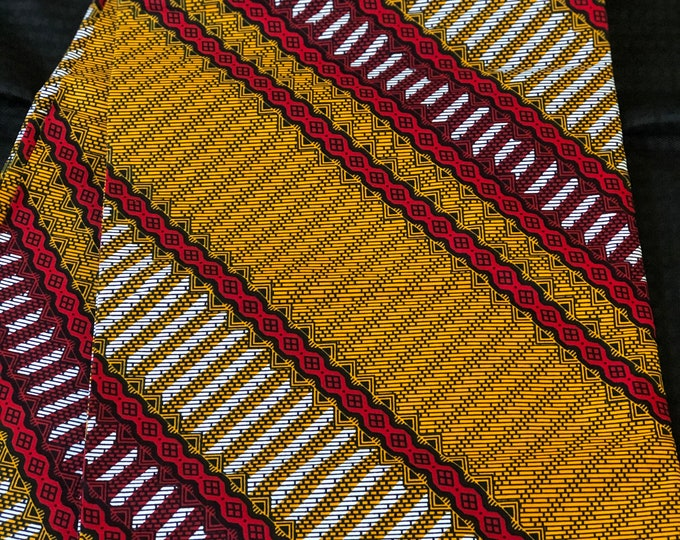 ORB62 6 yard red /orange black African fabric/ african print/ African clothing/ African home decor/ ethnic print/ African material