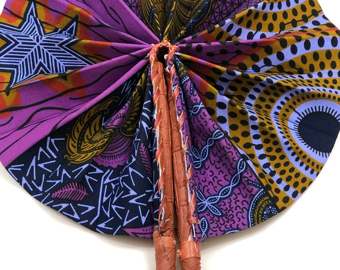 Purple yellow  Ankara african wedding favor ethnic print fabric round windmill style handmade hand fan with leather trim folding