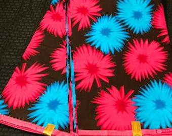 MC46 african fabric per yard   blue  pink mud cloth floral Design ankara/ african Material/ Cloth/ wrapper/Head tie