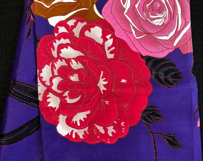 PPB6 6 yards royal Purple pink blue floral bloom african Fabric/ African  print/ kitenge Ankara Sew Dress/ cloth dolls