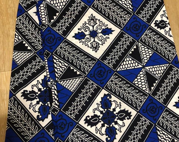 BWB12 african fabric per yard Blue white  black geometric print linoleum kitenge African Wax print/ Ankara/ Sew Dress/ african
