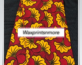 SAL62 6 yards red/ Yellow Salad floral petal Design African Fabric/African Wax print/ Ankara for Sew Dress/ African Art/ cloth dolls