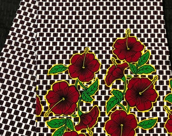 A1952 african fabric per yard White red green cube ludo Flower kitenge / Ankara/ African Wax print/ African Material/ ghana Cloth / ntoma