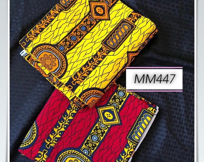MM447 table Mix Match african fabric pair Red/ orange Yellow African Fabric/ ankara/ african Wax Print/ ethnic print/ African Material