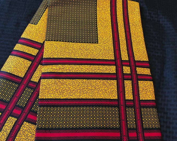 YR62 6 yards red/ mustard Yellow geometric Design African Fabric/African Wax print/ Ankara for Sew Dress/ African Art/ cloth dolls