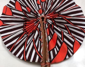 Blue orange/coral Ankara african wedding favor ethnic print fabric round windmill style handmade hand fan with leather trim folding