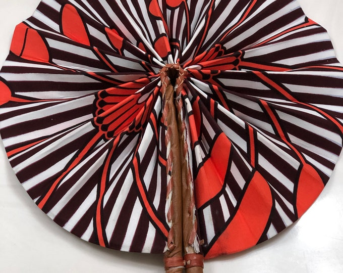 Blue orange/coral Ankara african wedding favor ethnic print fabric round windmill style handmade hand fan with leather trim folding