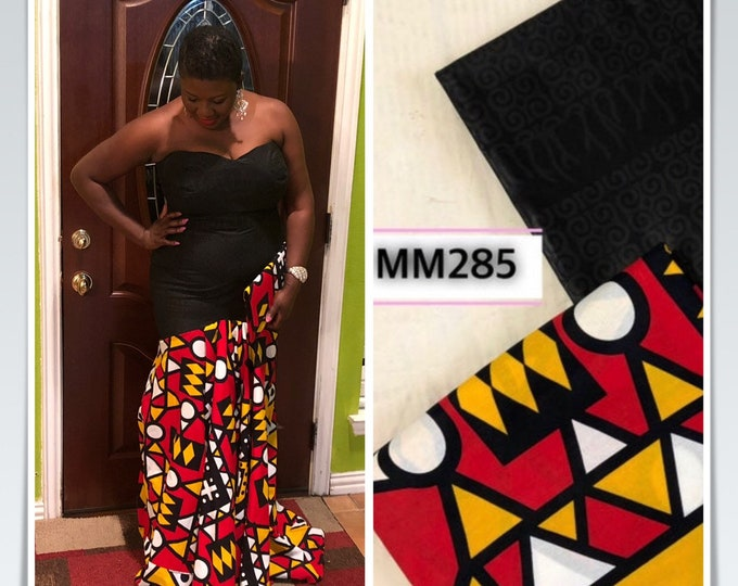 MM285 Mix Match  african fabric pair angolan Red/ Yellow/black African Fabric/ ankara/ african Wax Print/ ethnic print/ African Material