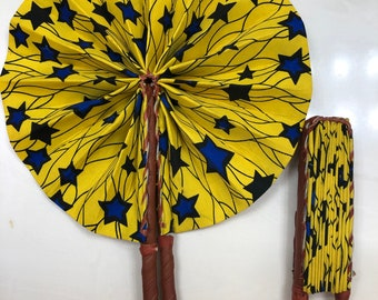 Blue yellow star Ankara african wedding favor ethnic print fabric round windmill style handmade hand fan with leather trim folding
