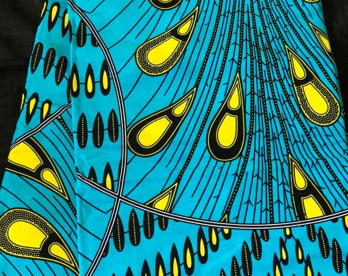 BLG11  african fabric per yard blue Yellow rain drop tear drop ethnic print/ quilting/ Sewing fabric/ Material: African print