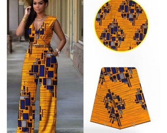 A181 1 yard Yellow blue Tower block African Fabric/ ankara/ yellow ethnic print/ yellow material/ African cloth/ yellow African decor