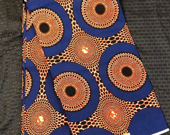 Per yard  Blue orange bullseye circle geometric African Fabric/African Wax print/ Ankara for Dress/ African cloth dolls/ African decor