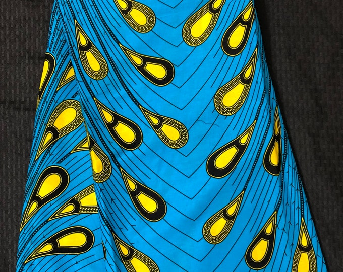 A6449 6 yard Blue/yellow rain peacock teardrop design  Kitenge african Wax print/ Ankara/ Material/ cloth/ wrapper