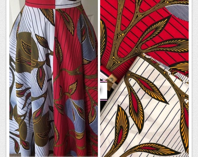 MM179 Mix Match african fabric pair Red/ Yellow African Fabric/ ankara/ african Wax Print/ ethnic print/ African Material/ Doll Cloth