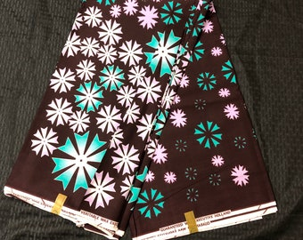 6 yards purple blue teal star snowflakes design African Fabric/African Wax print/ Ankara for Dress/ African cloth dolls/ African decor