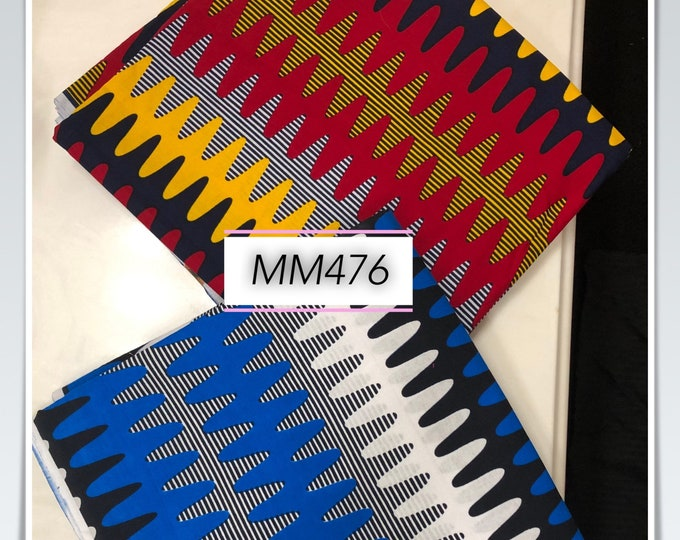 MM476 3 yards each Mix Match prints fabric pair Red/ Blue patriotic colorS  African Fabric/ African Cloth/ African Wax print/ ghana