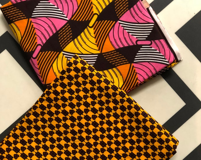 MM434 3 yards Each Pink /yellow orange  Mix and Match African Fabric/ ankara/ african print/ Material/ ethnic print/Doll cloth