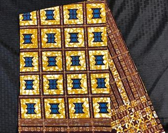 A1231 1yd Blue Brown BEige Ghanaian traditional stool African Fabric/African Wax print/ Ankara for Dress/ African cloth dolls/ African decor